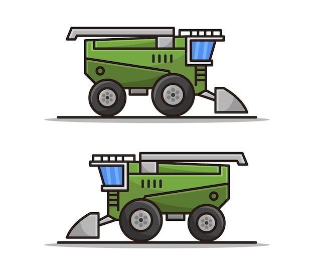 Set of cartoon illustrated harvester combine
