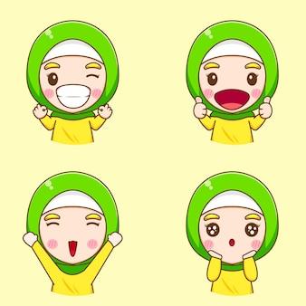 Установите иллюстрации шаржа милой мусульманской женщины характера
