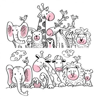 Set of cartoon illustration with cute animals.