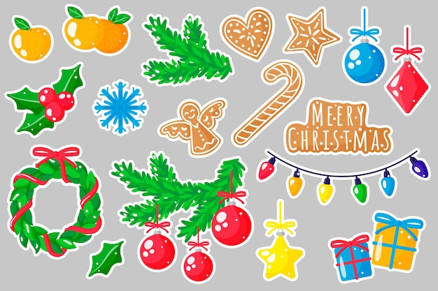 Set of cartoon illustrations stickers with new year and christmas decorations