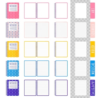 Set of cartoon illustrations with different types of notebooks, open notebooks, blank sheets on white background