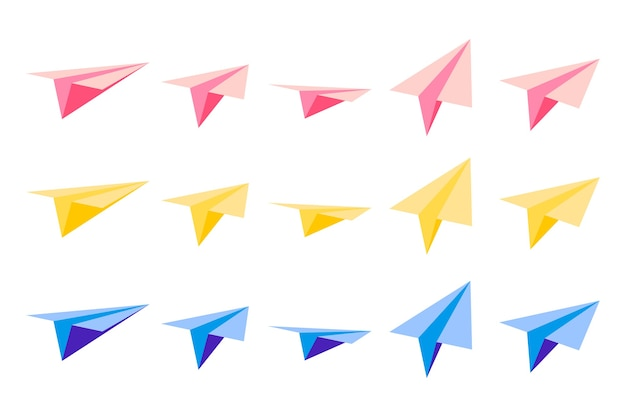 Set of cartoon illustrations with origami paper planes with views from different sides on white background.