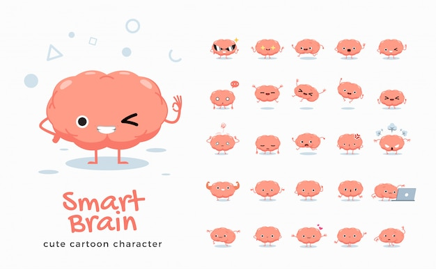 Set of cartoon images of brain.  illustration.