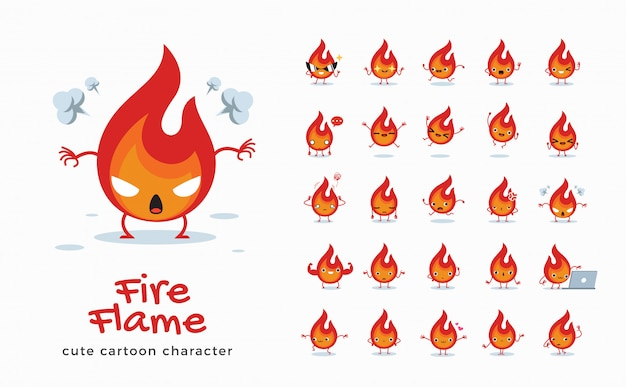 Set of cartoon images of fire flame.  illustration.