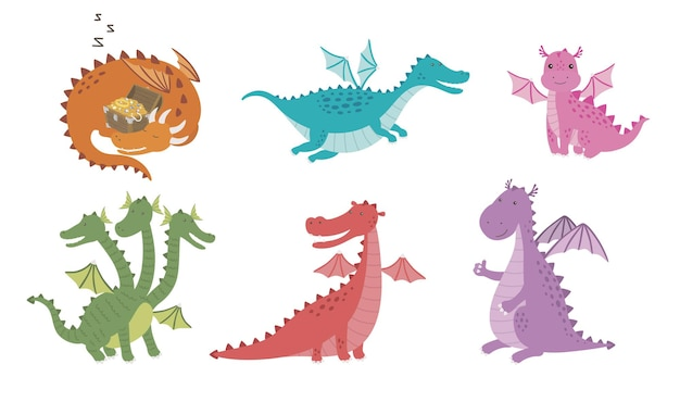 Set of cartoon images of funny dragons