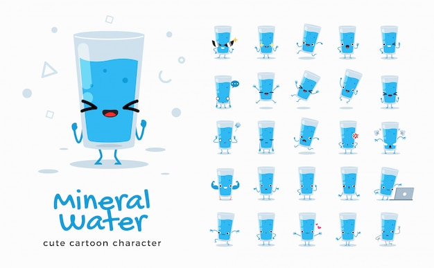 Set of cartoon images of mineral water.  illustration.
