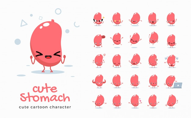 Set of cartoon images of stomach.  illustration.