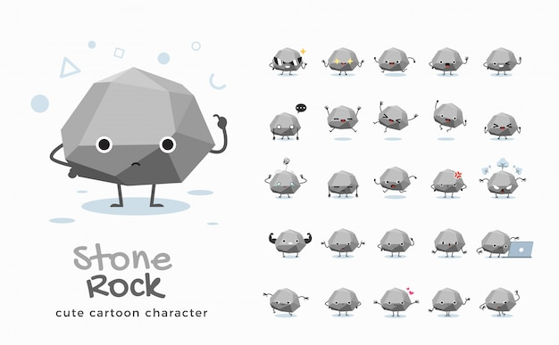 Set of cartoon images of stone.  illustration.