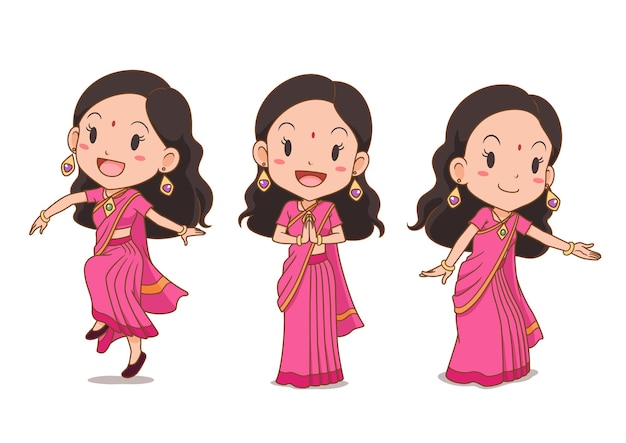 Set of cartoon indian girl in traditional costume