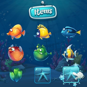 Set of cartoon items in underwater world. marine life landscape with different inhabitants.
