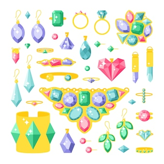 Set of cartoon jewelry accessories items