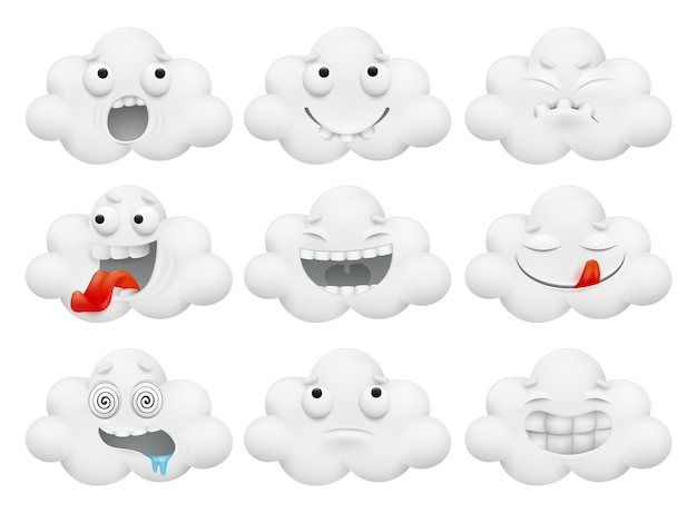 Set of cartoon kawaii cartoon cloud characters.