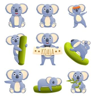 Set of cartoon koalas with different emotions