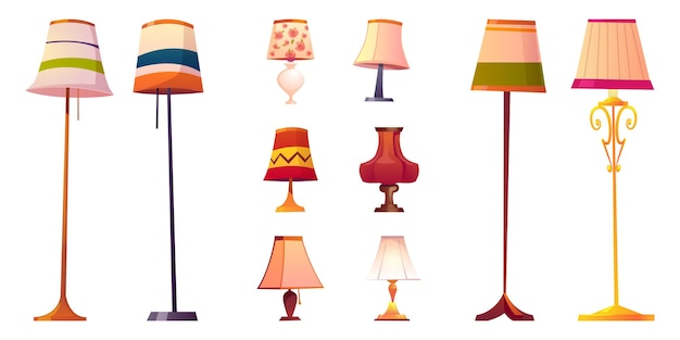 Set of cartoon lamps, floor and table torcheres with different lampshades on long and short stands.