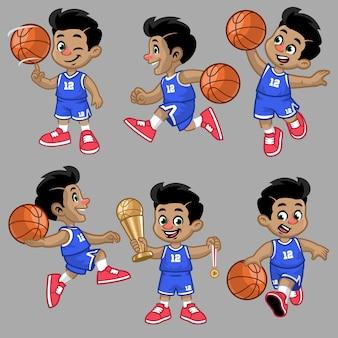 Set of cartoon of little boy of basketball player