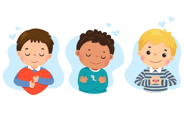 Set of  cartoon of little boys hugging themself. self love, self care, positive, happiness concept.