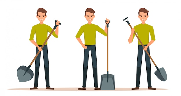 Set cartoon male character with a shovel.