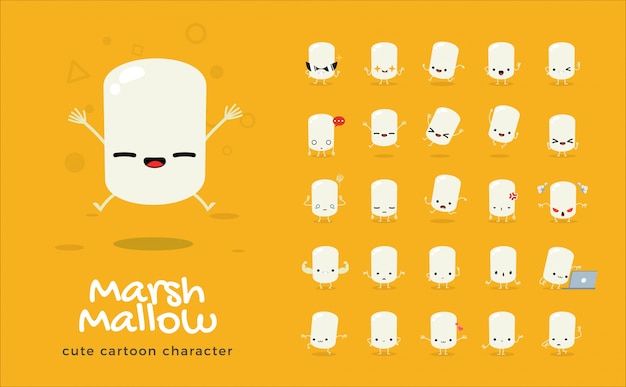 Set of cartoon  of marshmallow.  illustration.