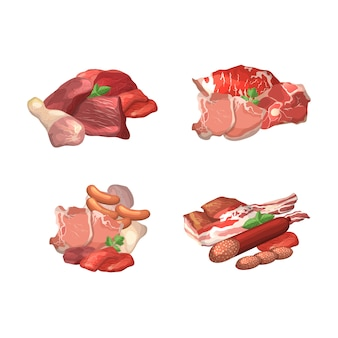 Set of cartoon meat pieces piles illustration. collection of meat food, steak of pork, beef raw