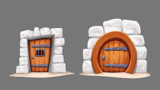 Set of cartoon medieval doors on gray