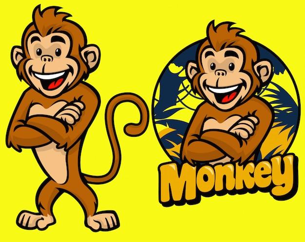 Set of cartoon monkey character
