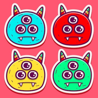 Set of cartoon monster doodle isolated on pink