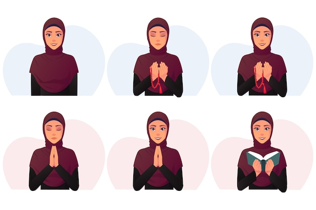 Set of cartoon muslim woman wearing a black dress and red hijab