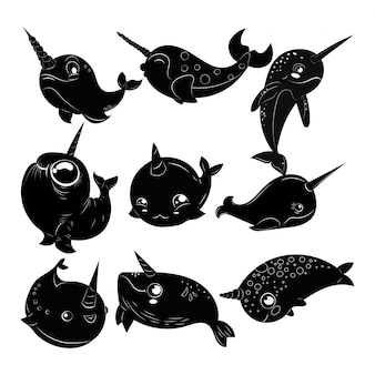 Set of cartoon narwhals. collection of black and white narwhals. tattoo.