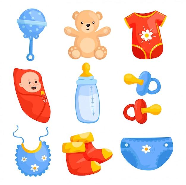 Set cartoon newborn baby items. motherhood flat elements. rattle, teddy bear, sliders, baby, bottle milk, bib, socks, diaper