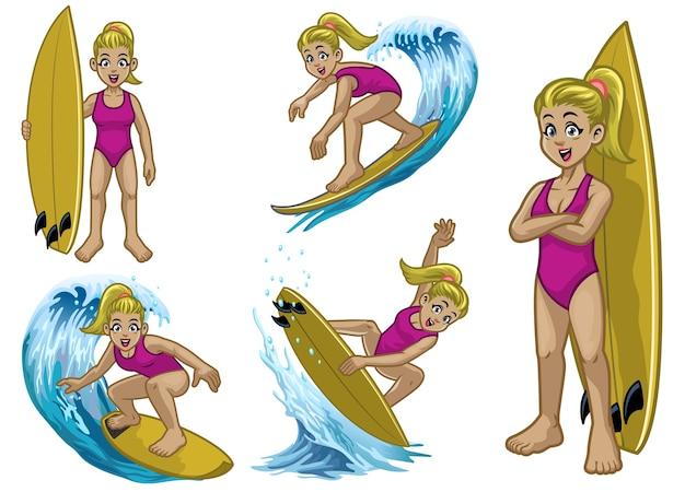 Установить мультфильм блондинка белый серфер девушка