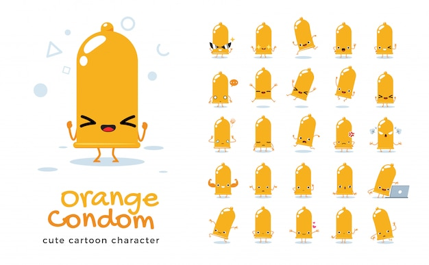 Set of cartoon  of orange condom.  illustration.