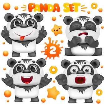 Set of cartoon panda bear kawaii characters. various emotions