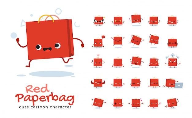 Set of cartoon  of paper bag.  illustration.