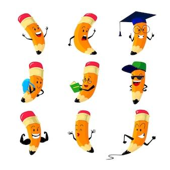 Set of cartoon pencils characters