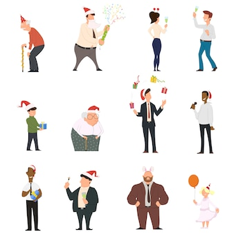 Set of cartoon people dancing celebrating people having fun at the new year party.
