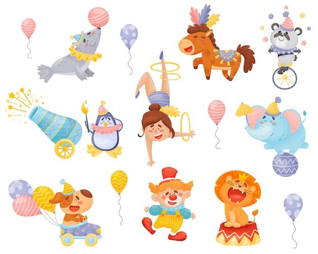 Set of cartoon performing circus performers