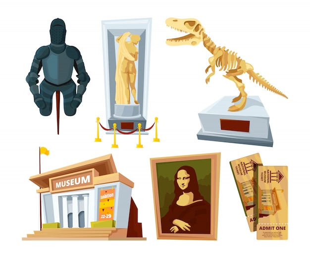 Set cartoon pictures of museum with exhibit pod and tools of various historical periods