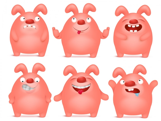 Set of cartoon pink bunny charaters in different emotions.