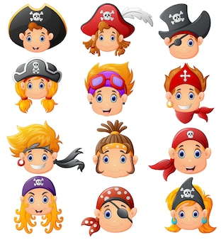 Set cartoon pirate head