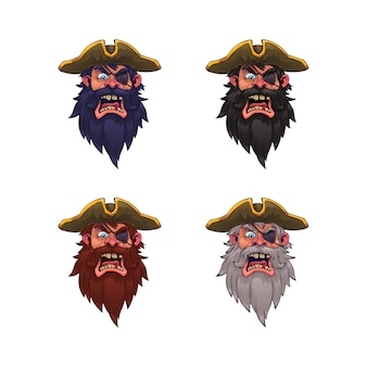 Set of cartoon pirate head