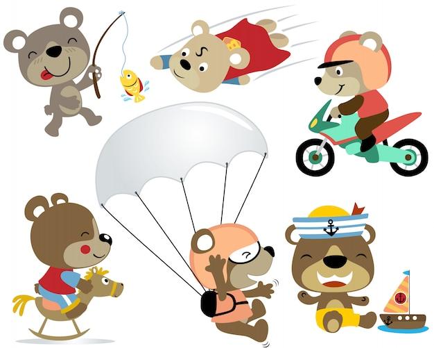 Set cartoon of playing bear