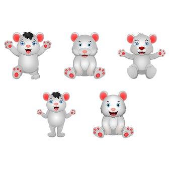 Set of cartoon polar bear