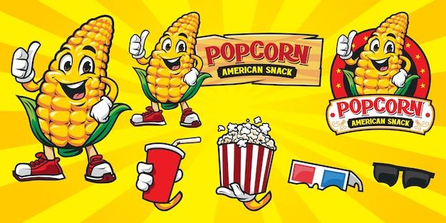 Set of cartoon popcorn logo