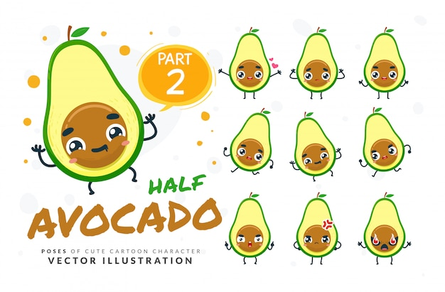 Set of cartoon poses of avocado slice.