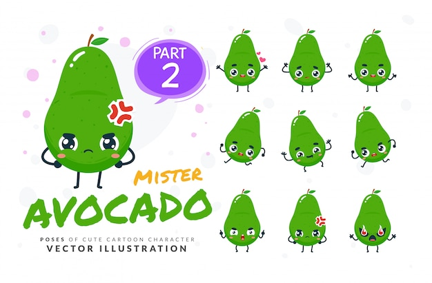 Set of cartoon poses of avocado.