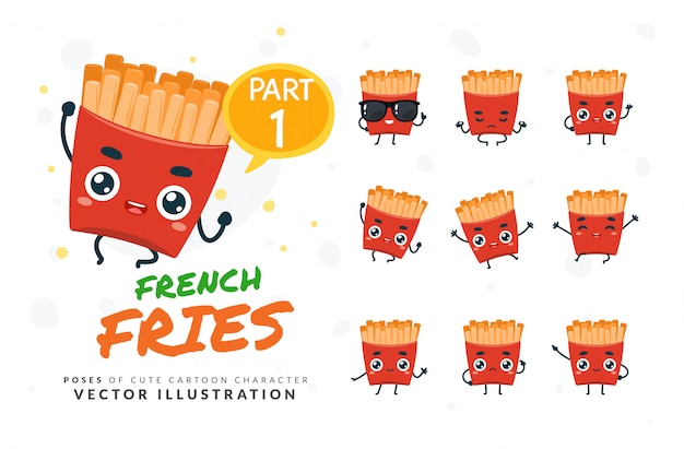 Set of cartoon poses of french fries.