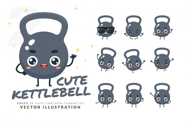 Set of cartoon poses of kettlebell.