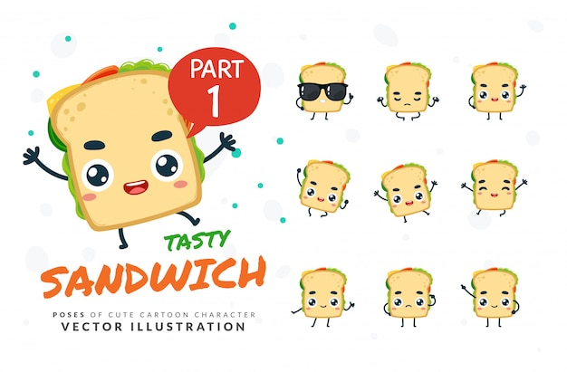 Set of cartoon poses of sandwich.