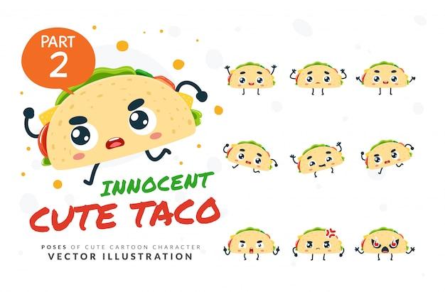 Set of cartoon poses of taco.