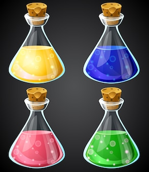Set of cartoon potion bottle.